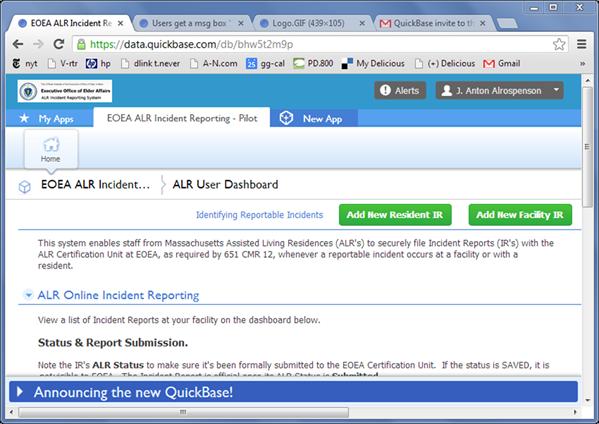 screenshot:  ALR User Dashboard