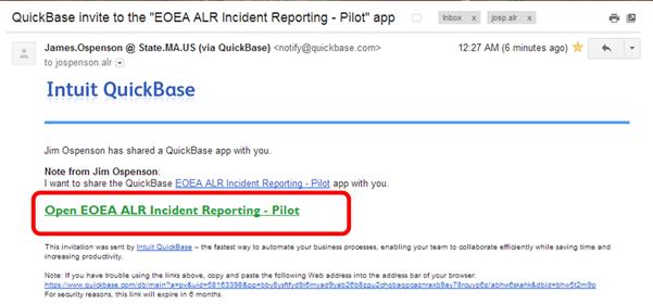 screenshot: QuickBase invite email