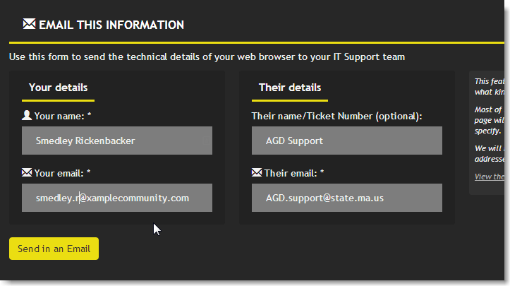 screenshot - whatismybrowser.com - bottom showing email functionality