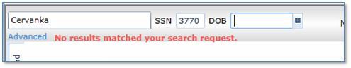 screenshot:  showing SSN
