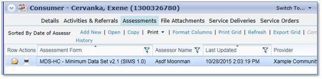 screenshot:  showing consumer's assessment list