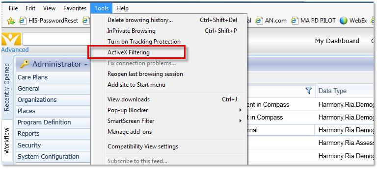 screenshot 3: Turning OFF Active X filtering in Tools
