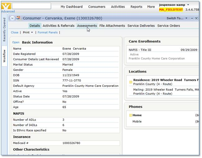 screenshot:   showing the located consumer record